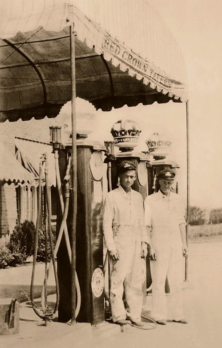 Red Crown gas pump attendants, circa 1933