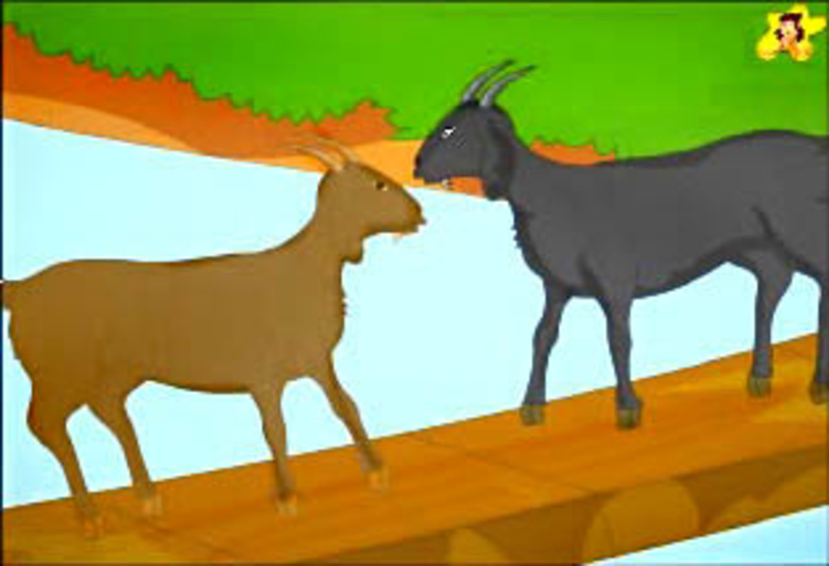 Children's stories online - The two silly goats met in the middle of the bridge