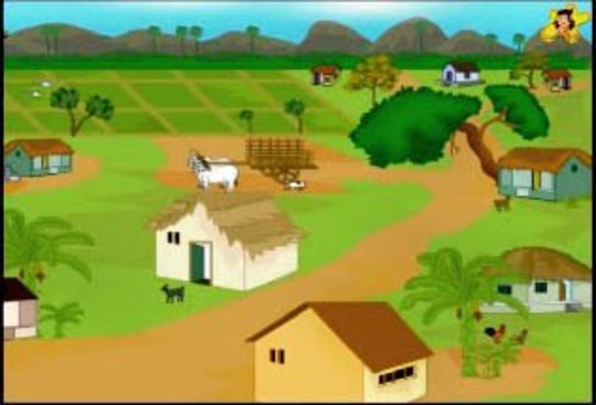 The two silly goats lived in this lovely village - childrens stories online
