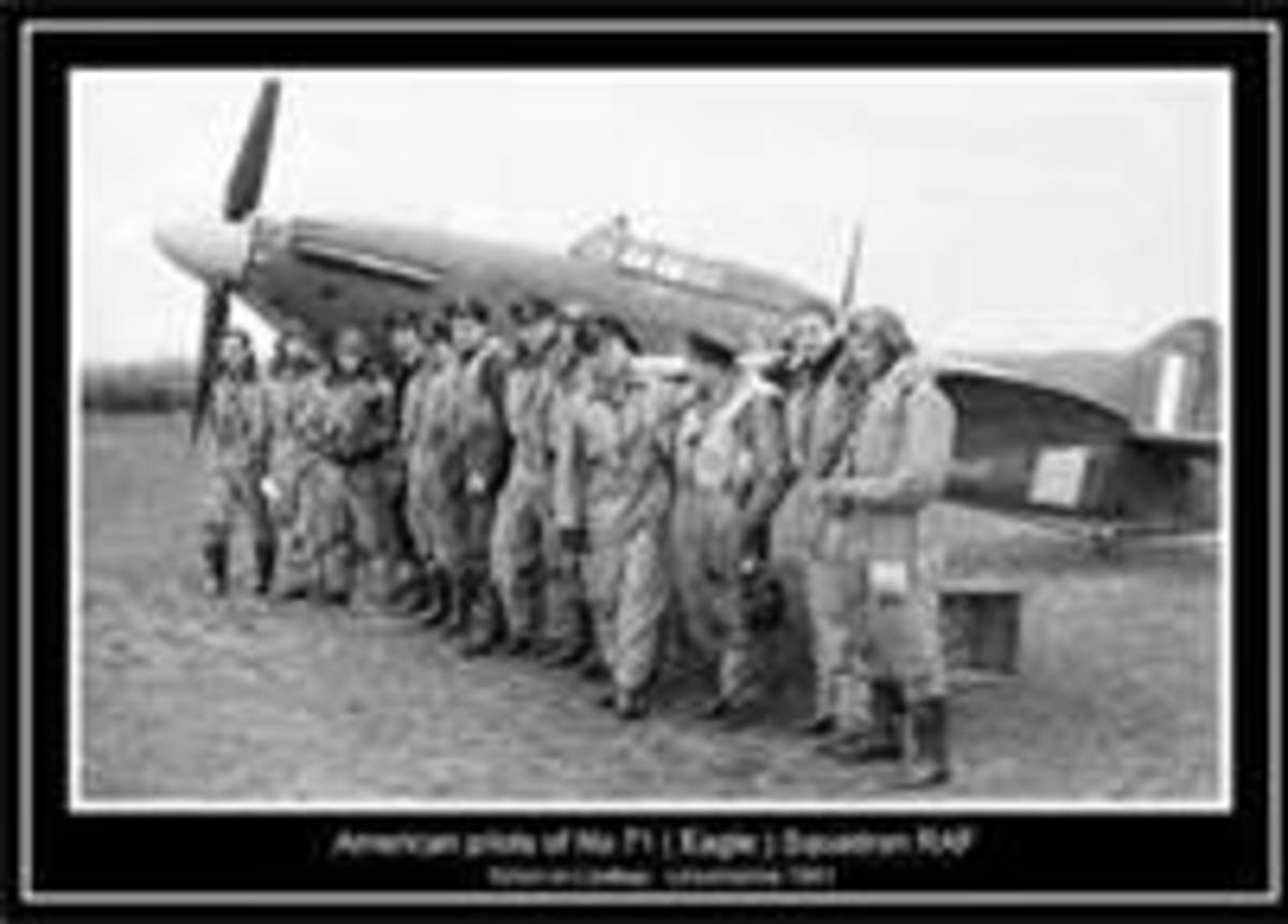 Eagle Squadron 71 (American) (Hurricane in background which was not their aircraft)
