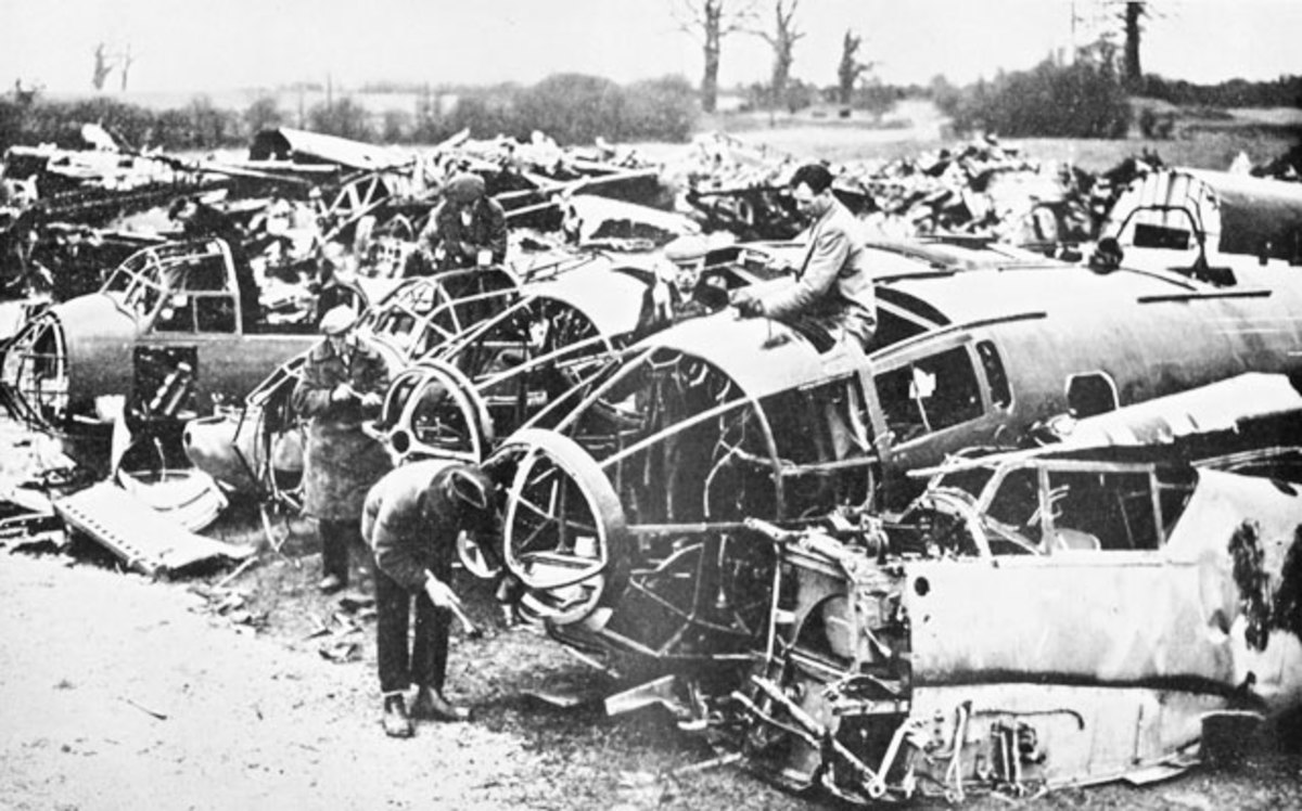 Scrap German aircraft for spares (for RAFWaffe) or for alloy scrap at Gravesend.