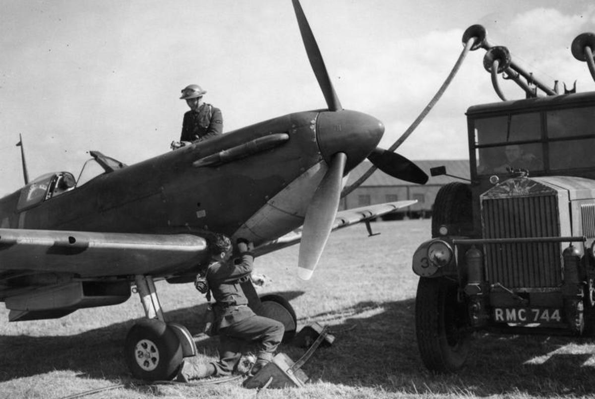 Fuelling up a Spitfire at Gravesend Airfield