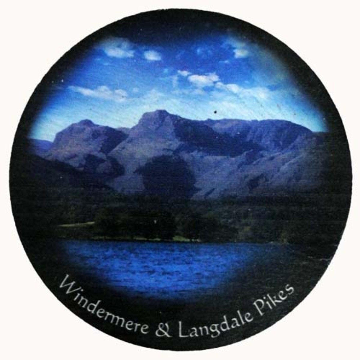 Slate coaster of Windermere and Langdale Pikes in the Lake District, England.