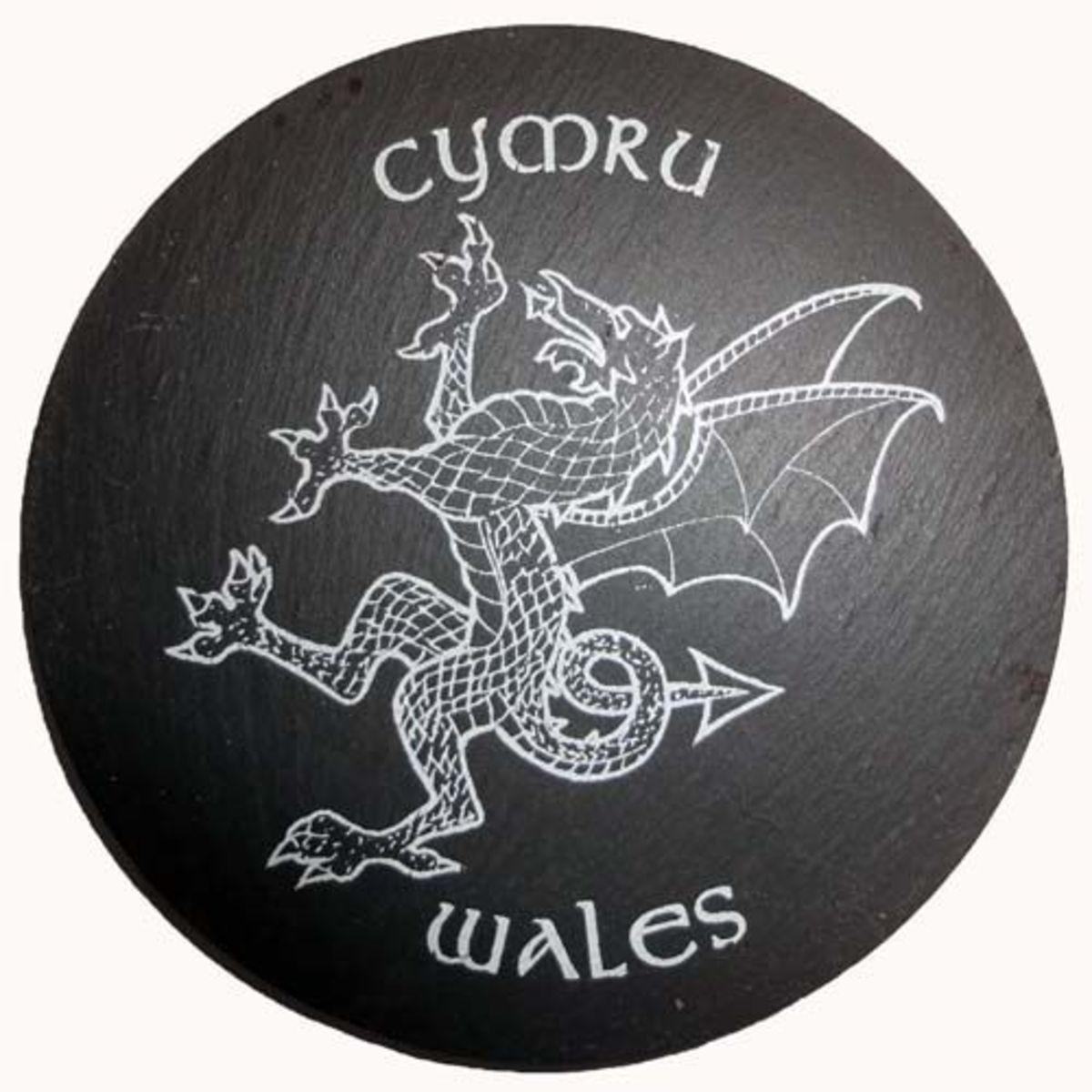 Slate coaster of Cymru Wales
