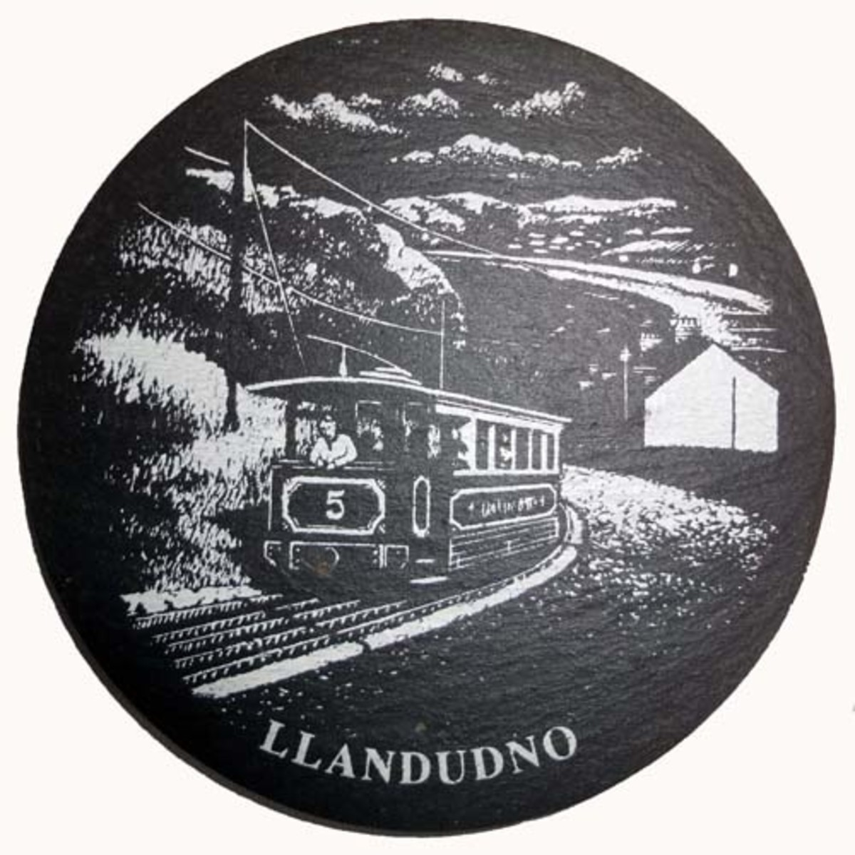 Slate coaster of Llandudno, North Wales
