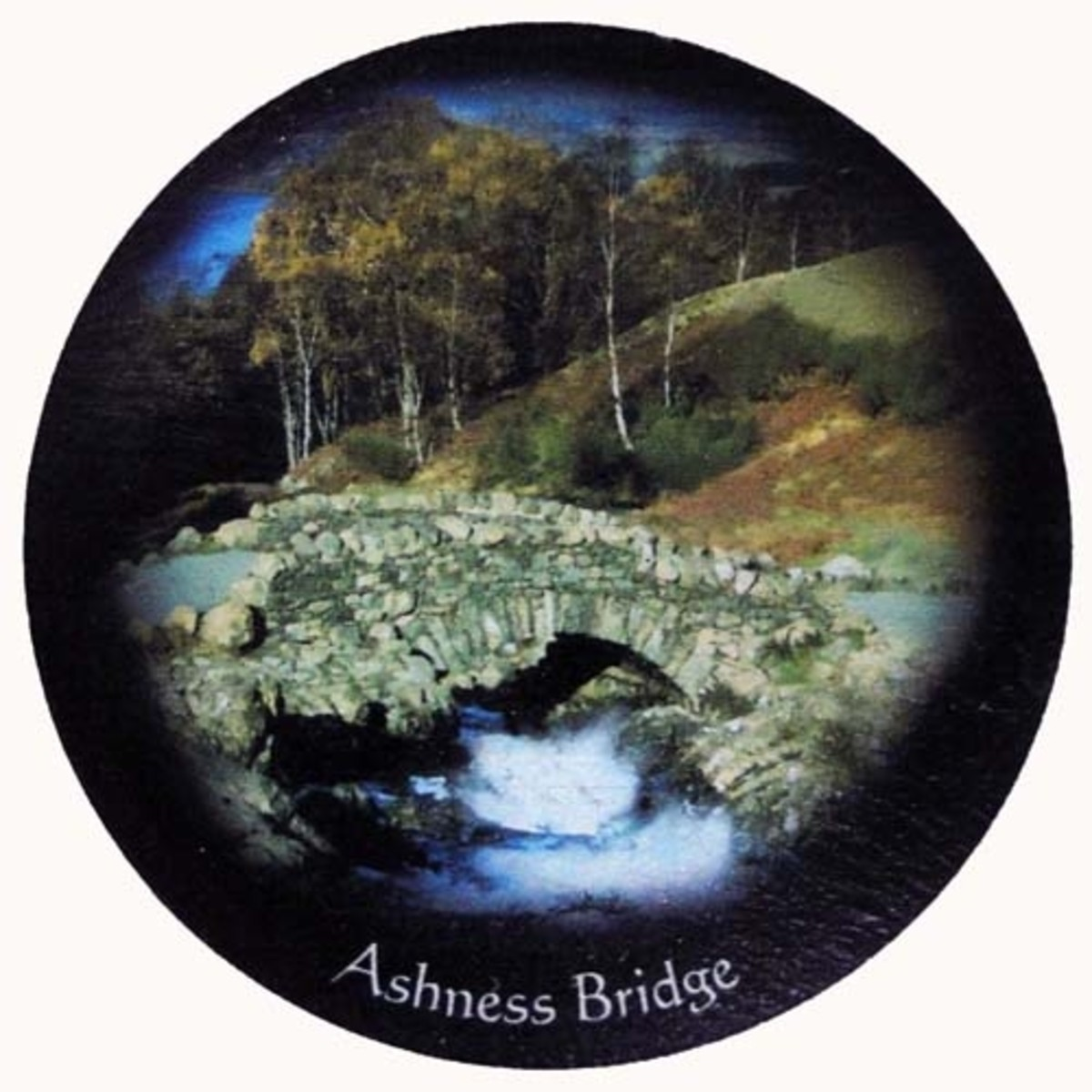 Slate coaster of Ashness Bridge, Lake District, England