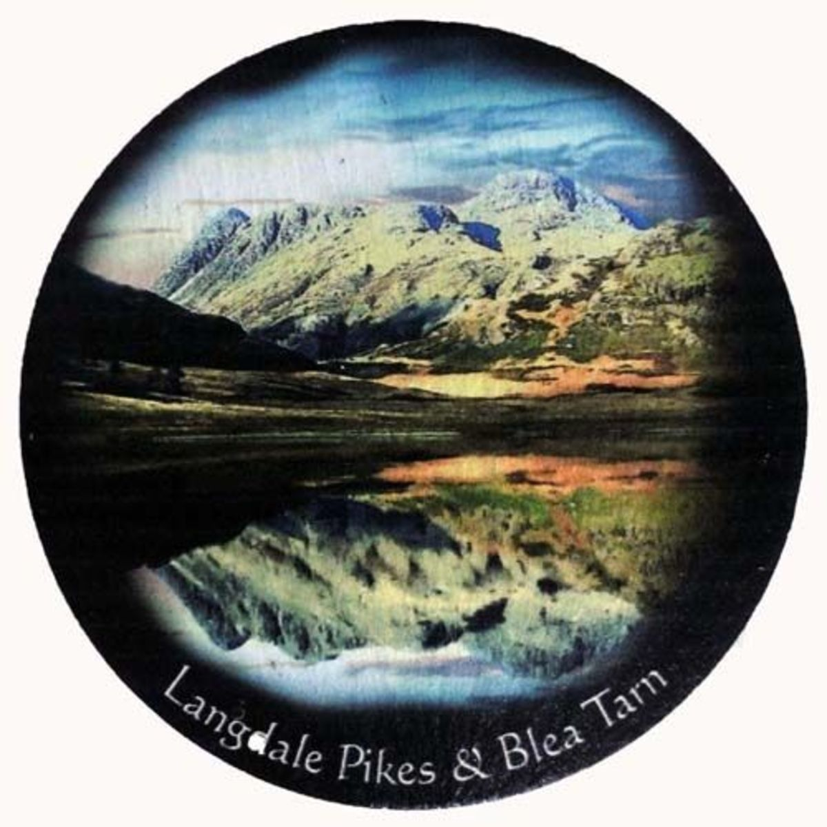 Slate coaster of Langdale Pikes and Blea Tarn in the Lake District, England.