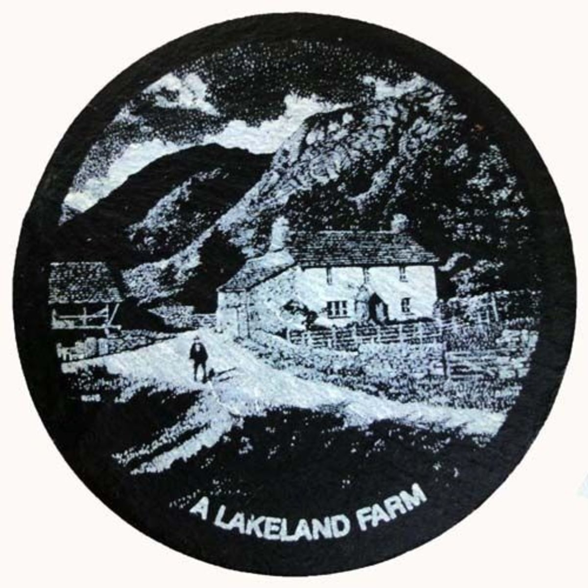 Slate coaser of Lakeland Farm in the Lake District, England.
