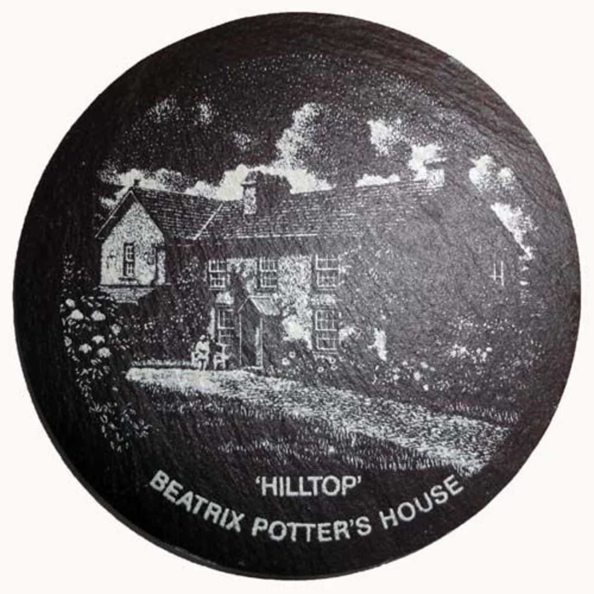 Slate coaster of Hilltop, Beatrix Potters House in the Lake District, England.
