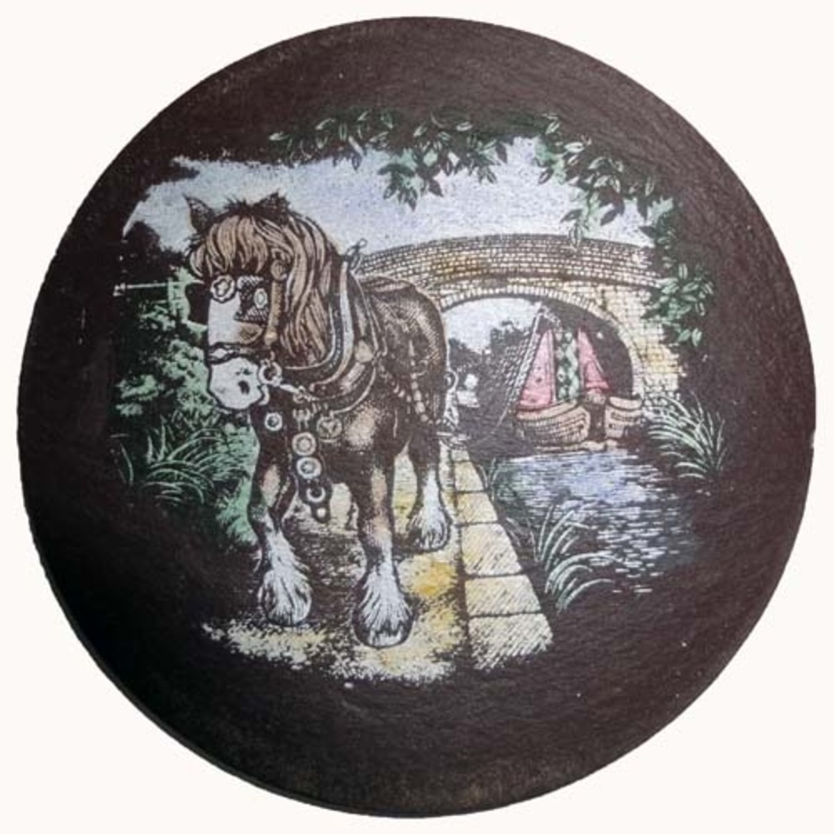 Slate coaster of horse pulling barge on canal
