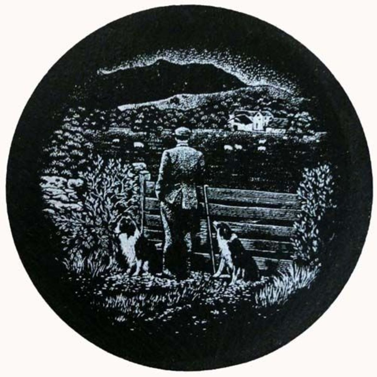 Slate coaster of farmer on farm with two collie dogs.