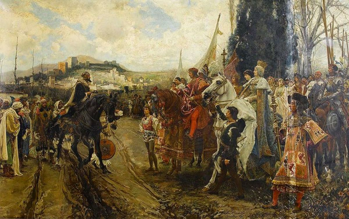 King Ferdinand and Queen Isabella receiving the final surrender of the Moors in Granada in 1492.