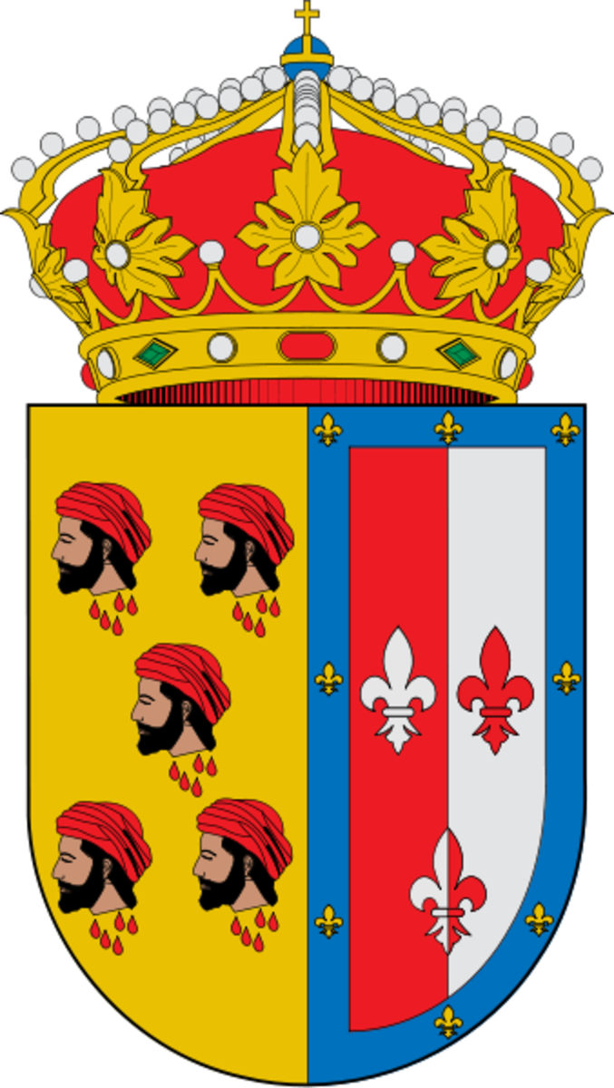 This is the coat of arms of Alcanadre, La Rioja, Spain which depicts the heads of slain Moors.