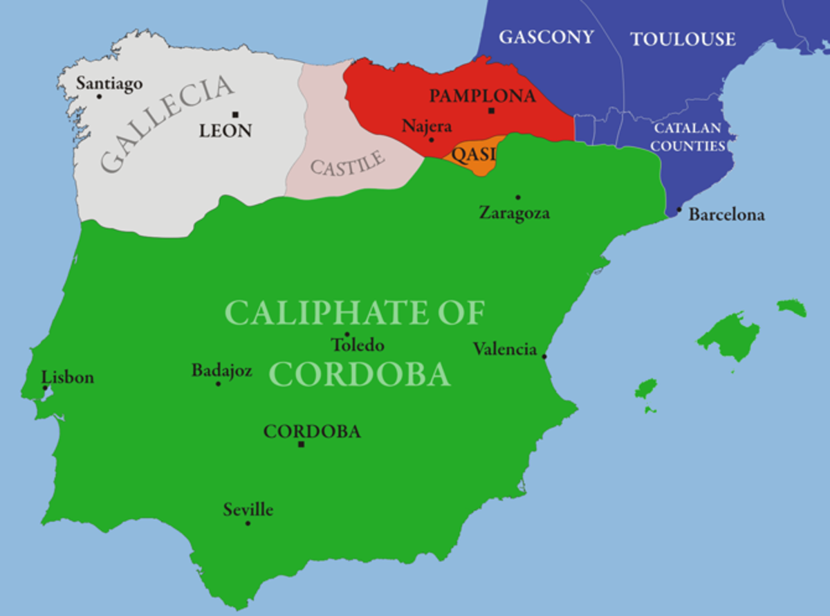 A map showing the extent of Islamic rule in Spain (depicted as green)