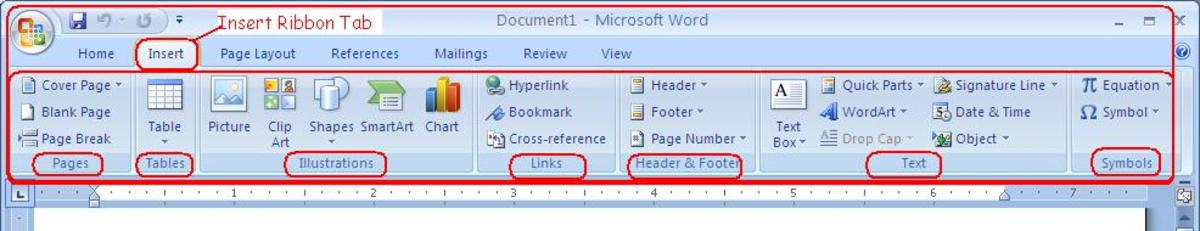 How To Use The Insert Ribbon Tab of Microsoft Office Word 2007
