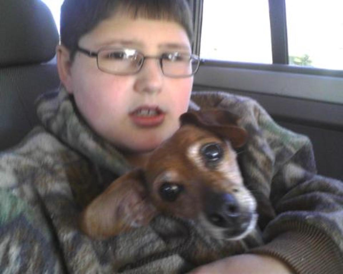 Look at this handsome young man who lives a pretty normal life. He is 14 years old with Daphne our little dog who has since on Dec 25, 2012 past away.