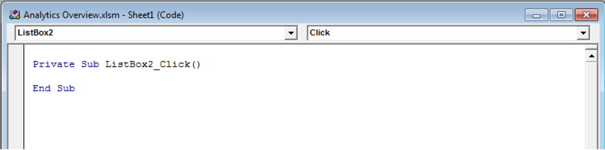 Microsoft Visual Basic configuration screen in Excel 2007 and Excel 2010.