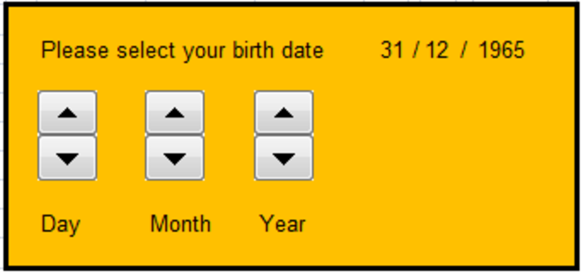 Example of a Spin Button created using Excel 2007 and Excel 2010.