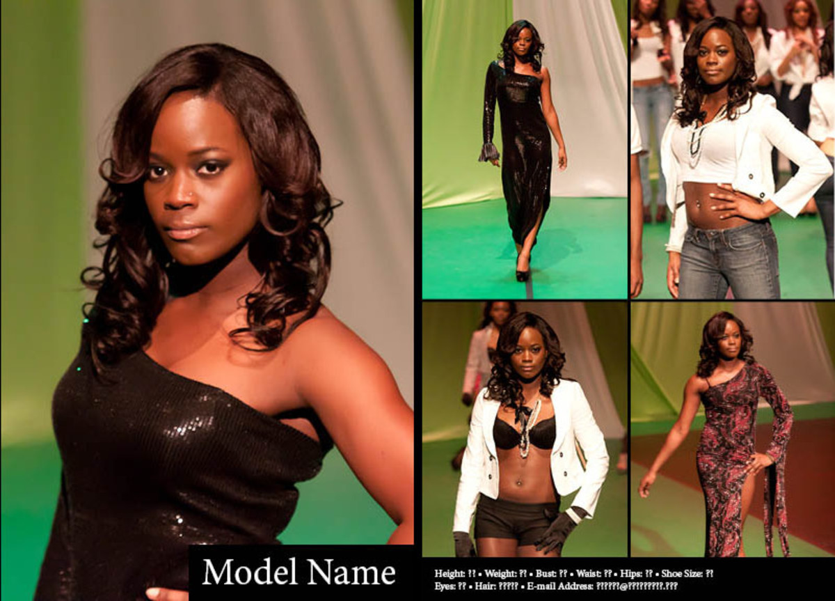 An example of a traditional, two-sided comp card with five images for a fashion model.