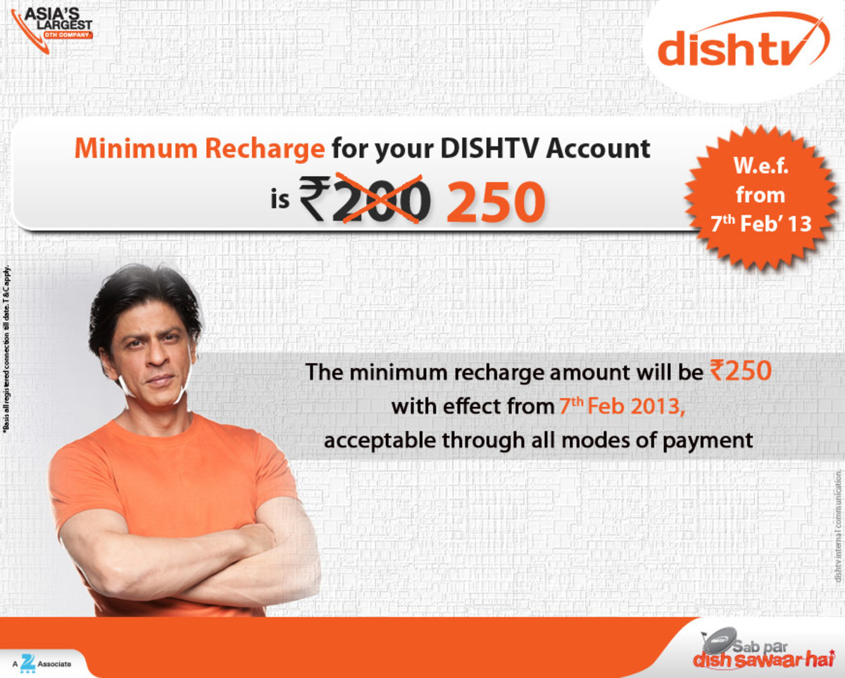 Dish TV India Minimum Recharge Amount Is 250 Rs