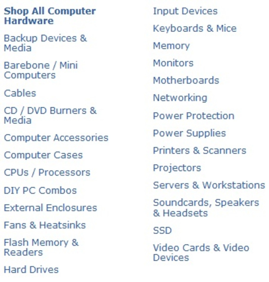 A listing of all the hardware that can be shopped for on Newegg.