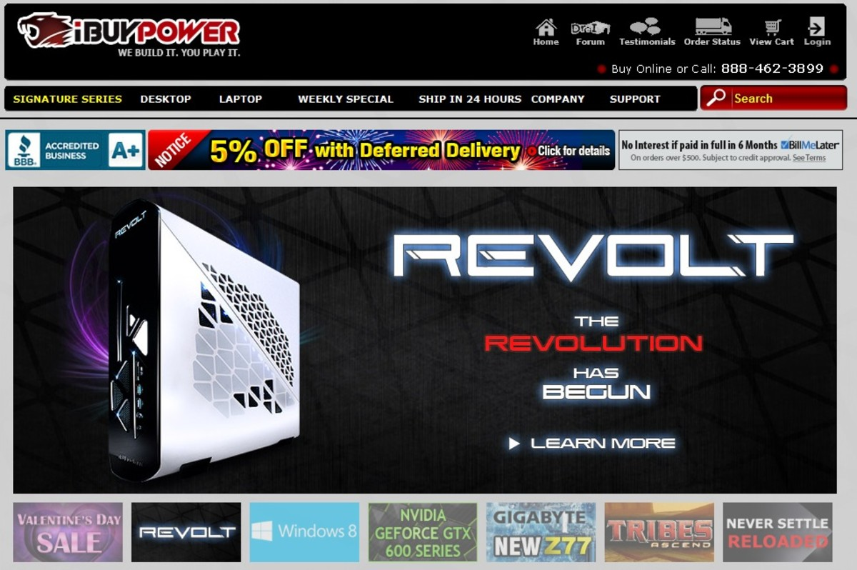 iBUYPOWER front page.  This company allows you to pick the parts for your own computer.  They assemble and ship it to you.