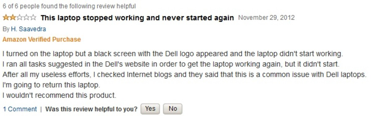 A customer review of a brand name computer on Amazon.