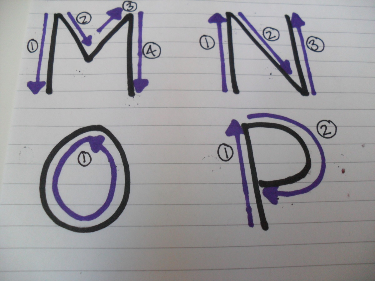 How to write capital letters: M, N, O, P