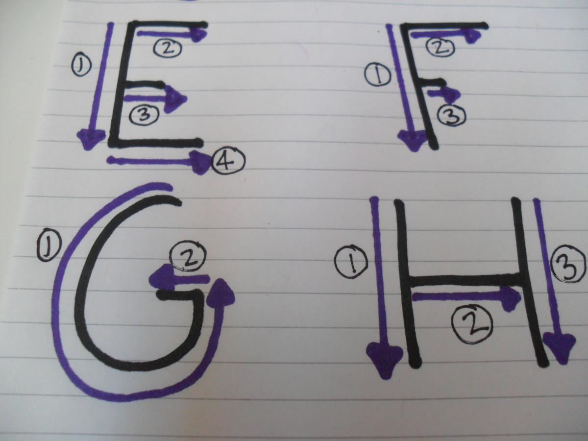 How to write capital letters: E, F, G, H