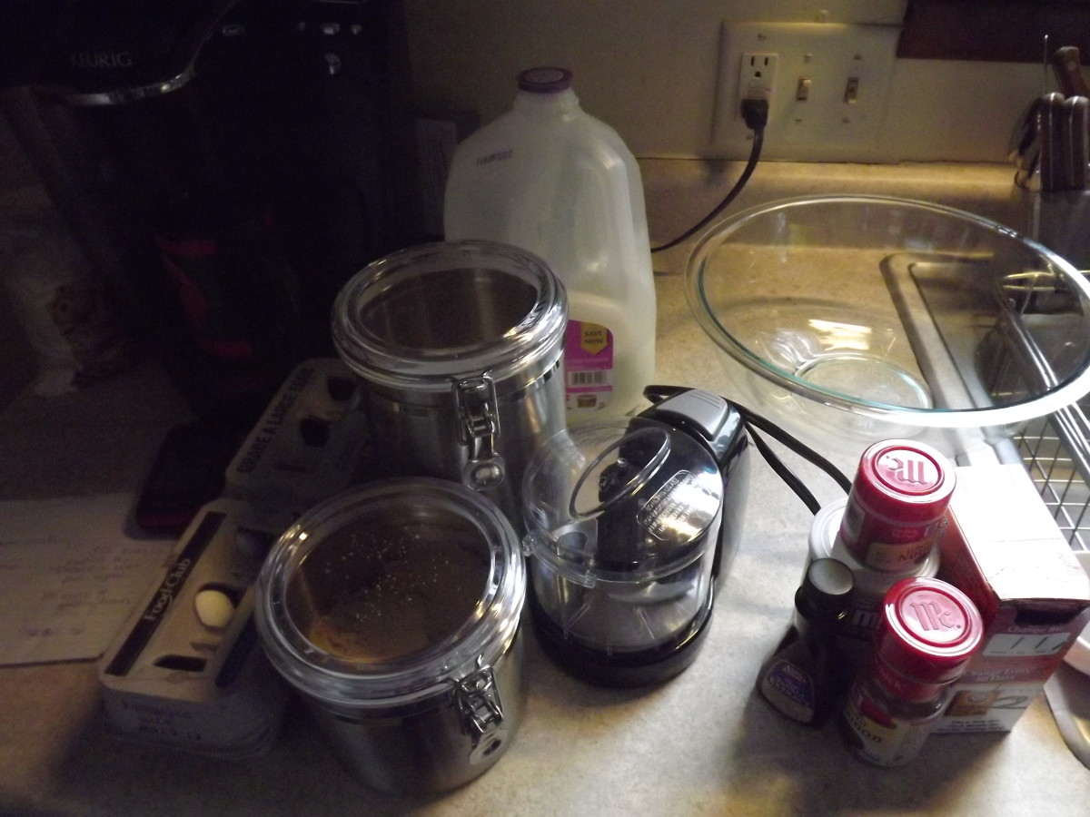 Ingredients and tools needed for making cinnamon apple muffins.
