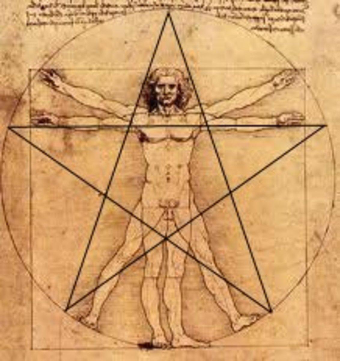 Da Vinci's Vituvian Man with pentagram.