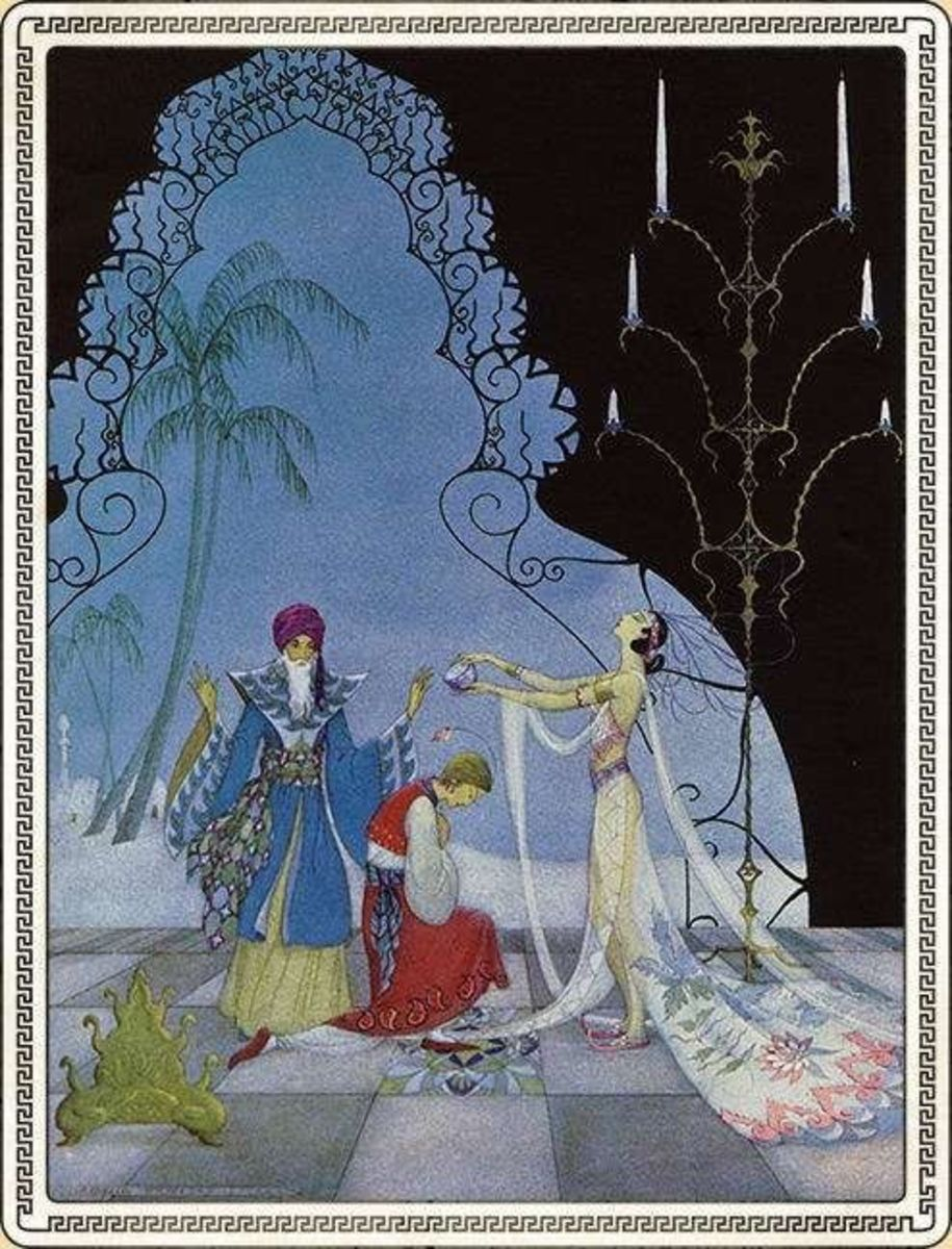 Another scene from Arabian Nights, illustration by Virginia Frances Sterrett