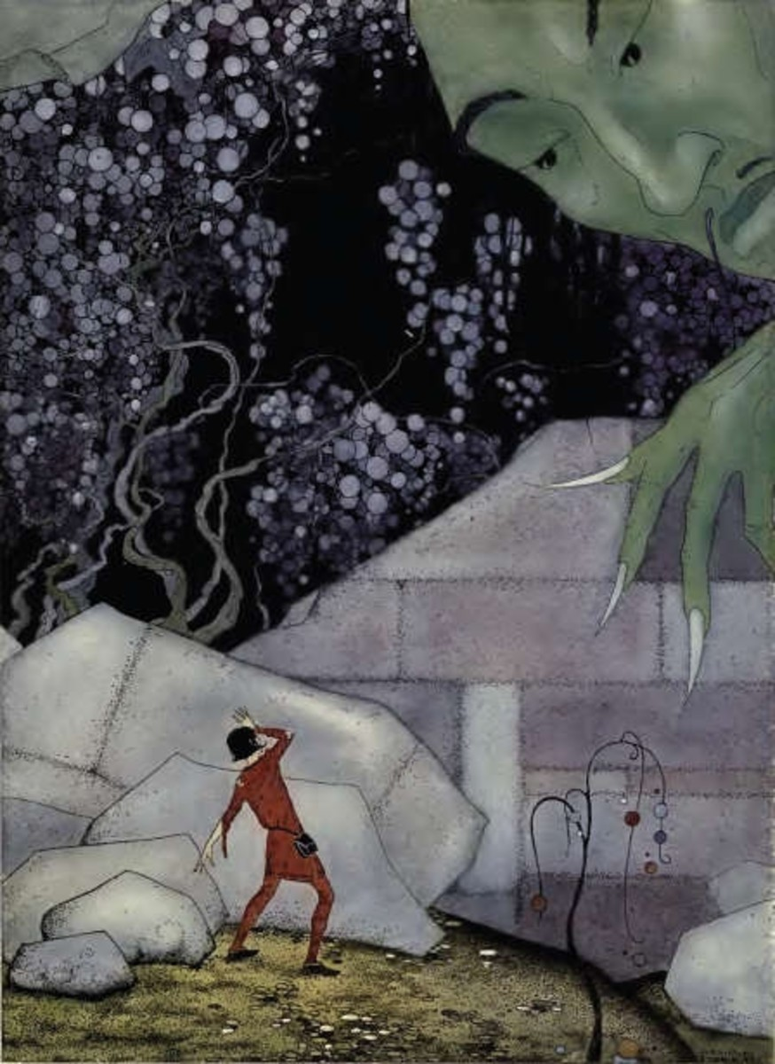 Part of the wall crumbled, scene from Old French Fairy Tales