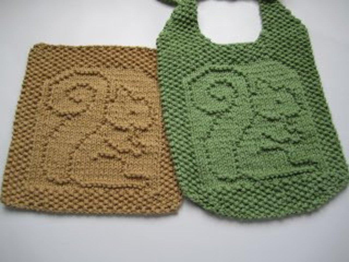 Squirrel washcloth/dishcloth and bib