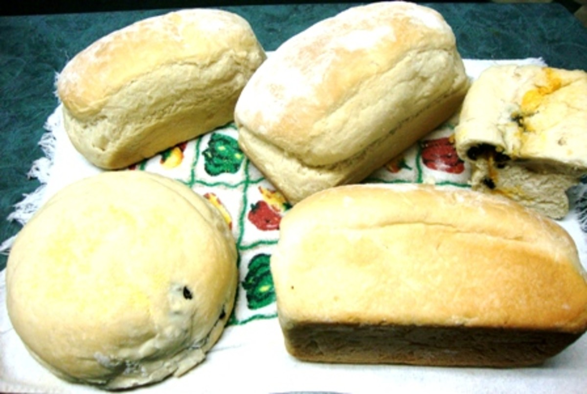 White Bread & Cheese and Olive Bread