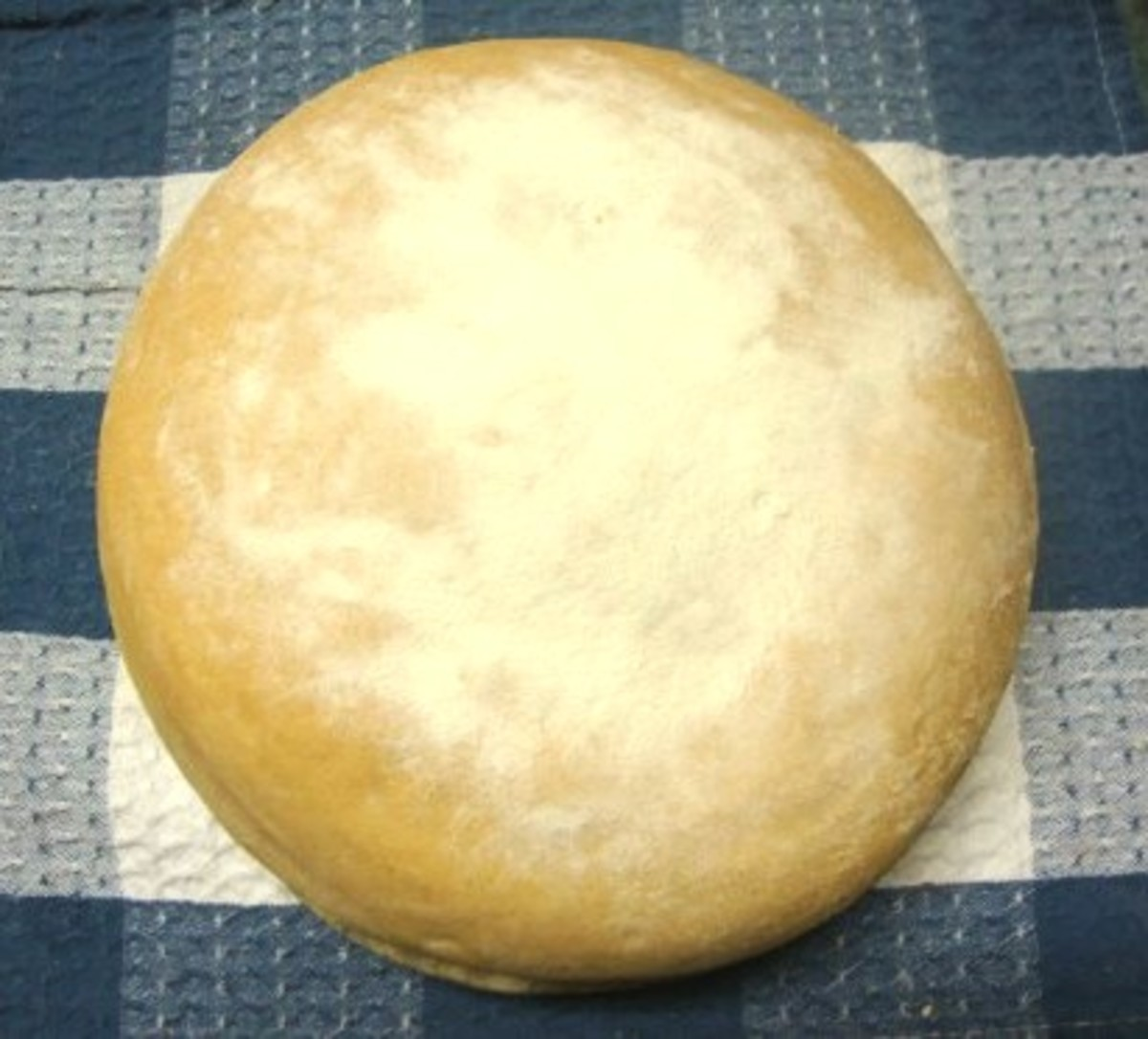 A round loaf topped with sifted flour.