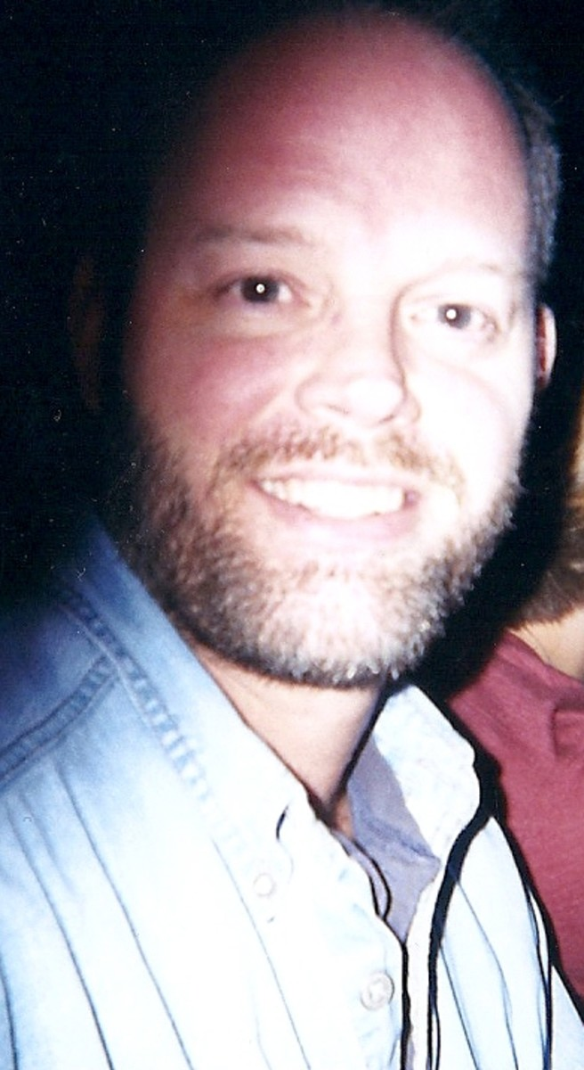 My husband, during that time, going along with my obsession.  He didn't seem to mind?  Looks like he was attempting to fit in with the facial hair growth too.  God bless him for putting up with me!