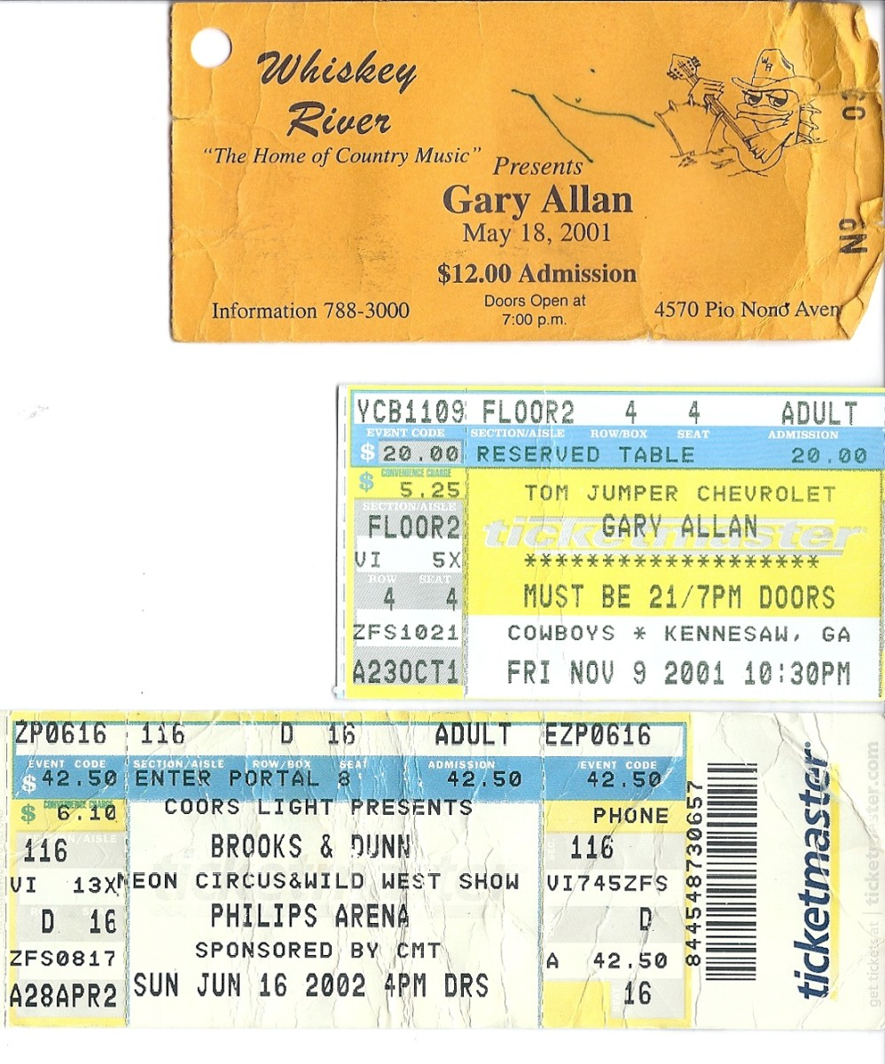 Ticket stubs of concerts I attended to see Gary Allan perform. These are nothing in comparison to the album full of hundreds of ticket stubs of previous concerts we had attended over the years.