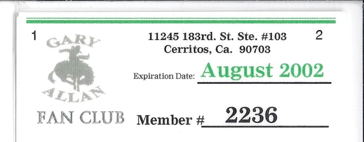 My Gard Allan Fan Club Membership Card