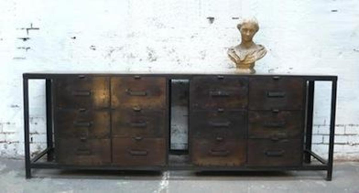 How cool is this one? A vintage industrial piece of furniture made from an old filing cabinet.