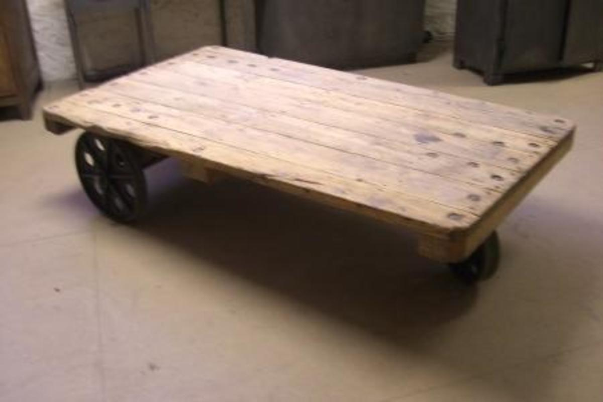 This 'coffee table' is actually an industrial cart. Very cool!
