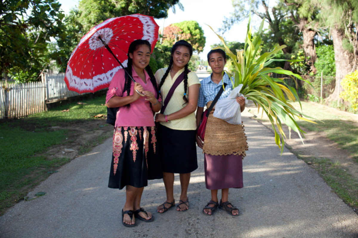 Youth in Tonga wearing traditional kiekie.