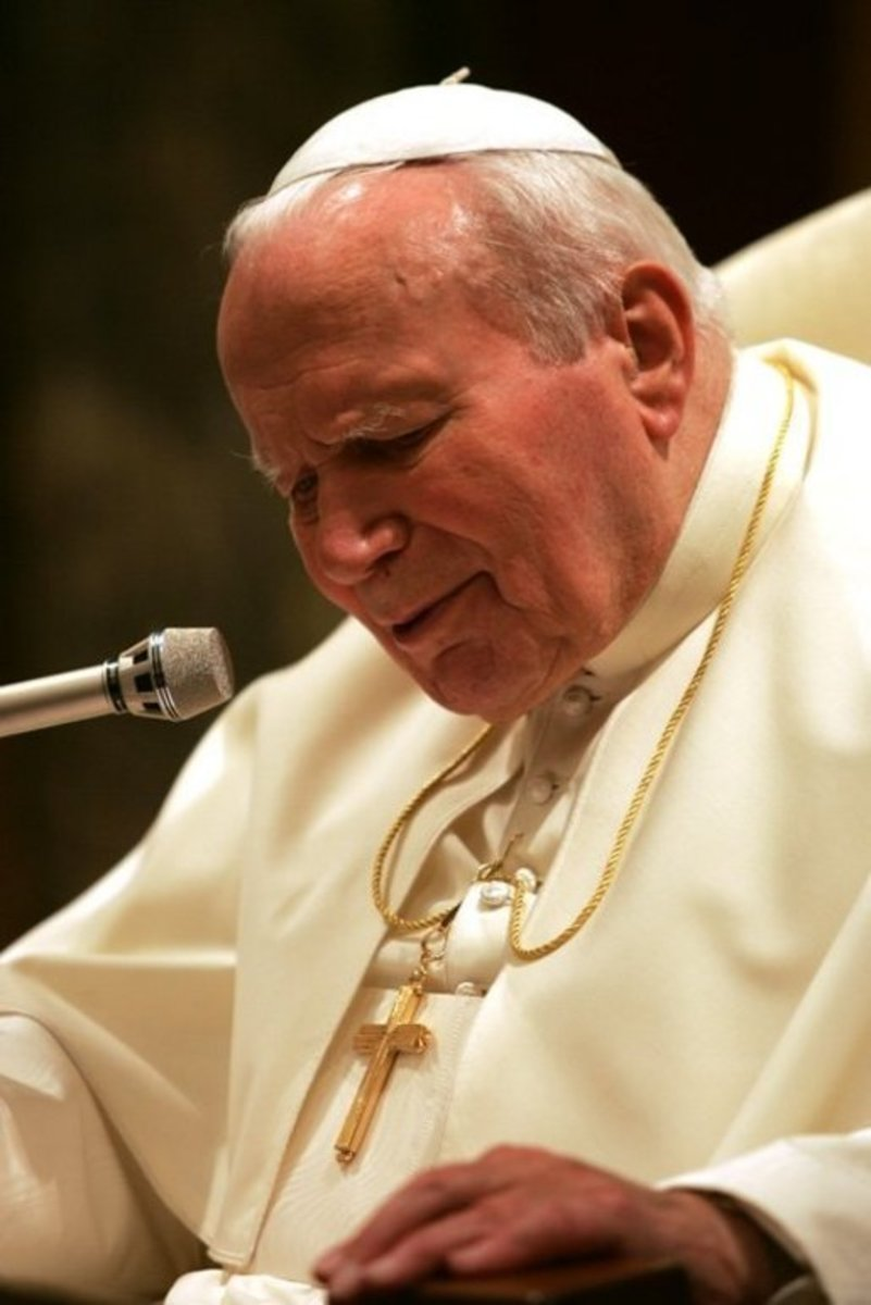 Pope John Paul II served from 1978 to 2005.  This photo was taken when he was honored with the Medal of Freedom in 2004.