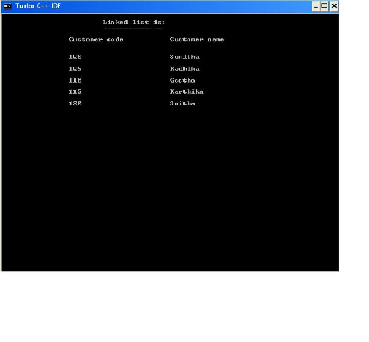 linked list created
