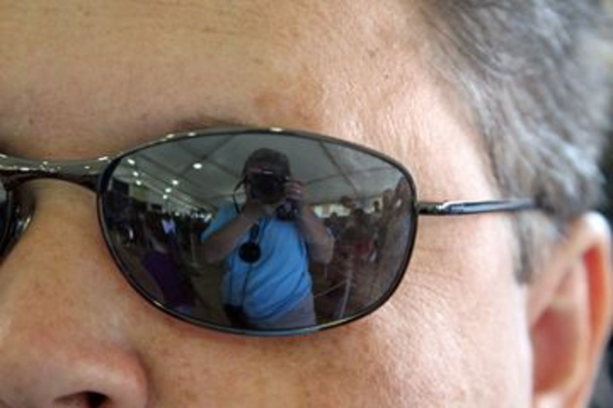 Sunglasses are a great reflective surface.