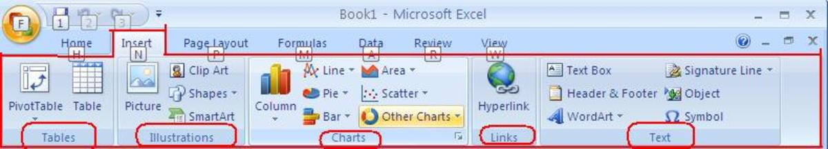 The Insert Tab of Excel 2007