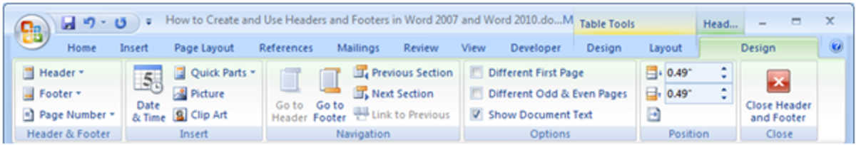 Showing the Design tab for Headers and Footers in Word 2007 and Word 2010.