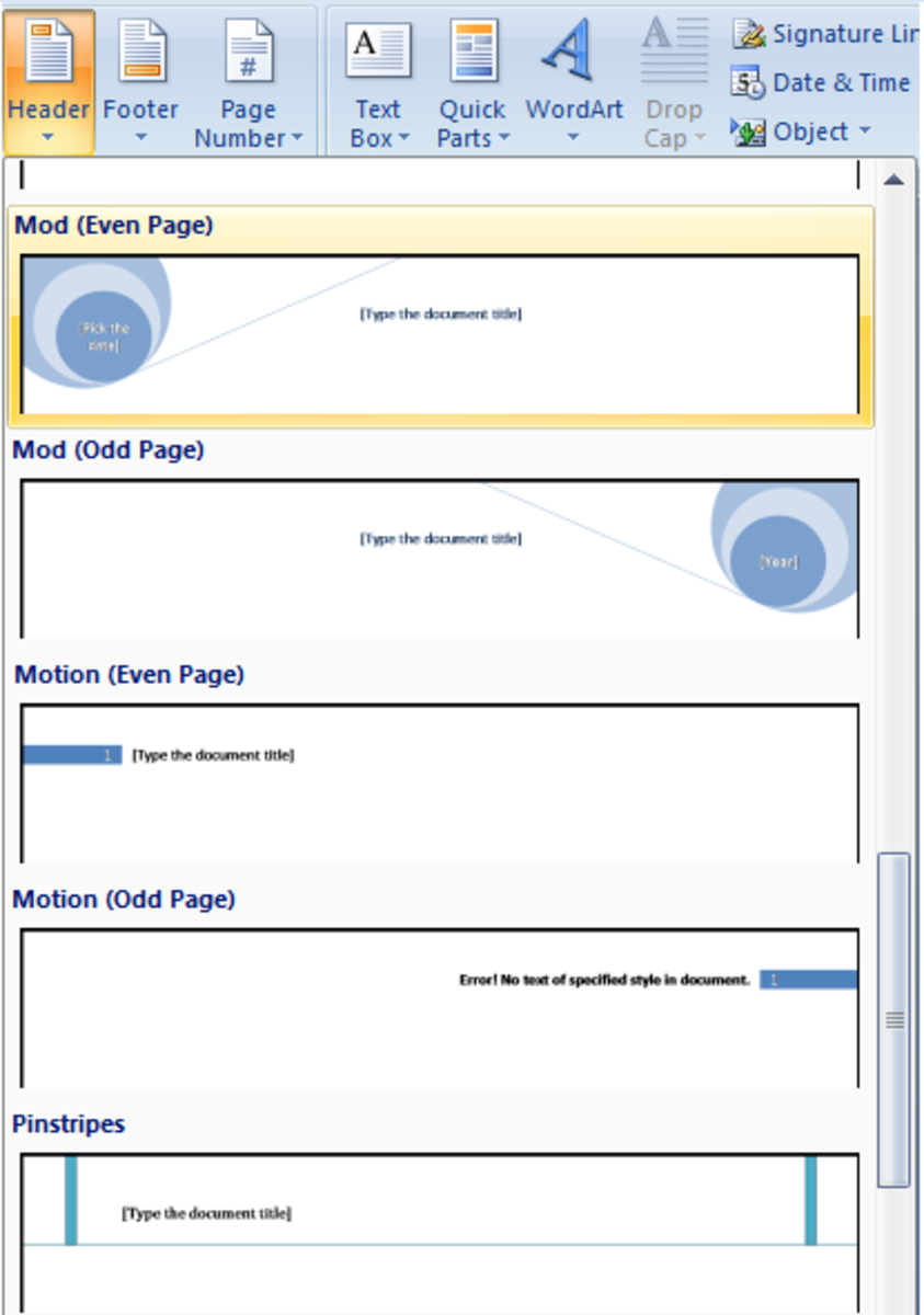 An example of Header styles available for odd and even pages in Word 2007 and Word 2010.