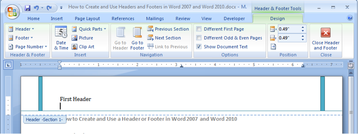 Example of a header, showing the Design tab for Headers & Footer tools in Word 2007 and Word 2010.