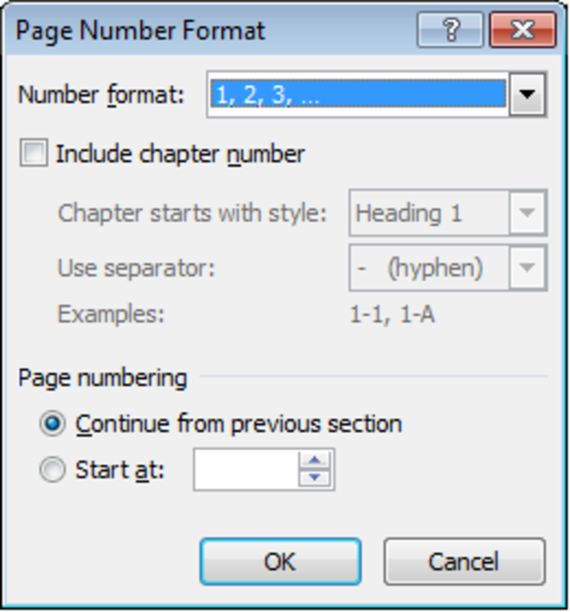Editable options available for page numbers in Word 2007 and Word 2010.